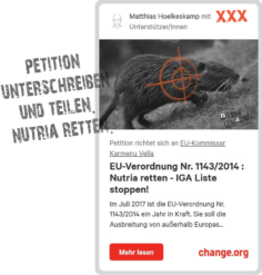 Petition an EU Kommissar Karmenu Vella gegen Ausrottung der Nutria unterschreiben. Umwelt-und Artenschutz sichern